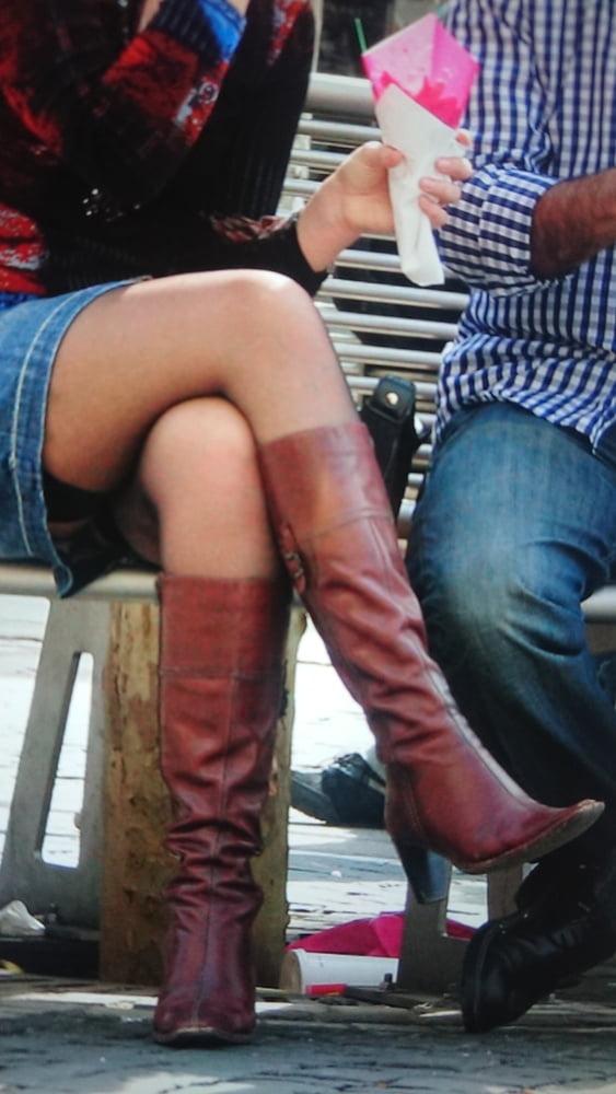 Upskirt stockings in public-6437