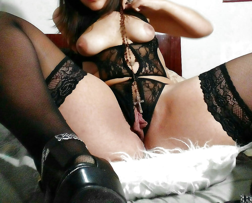 Open crotch girdle and nylons