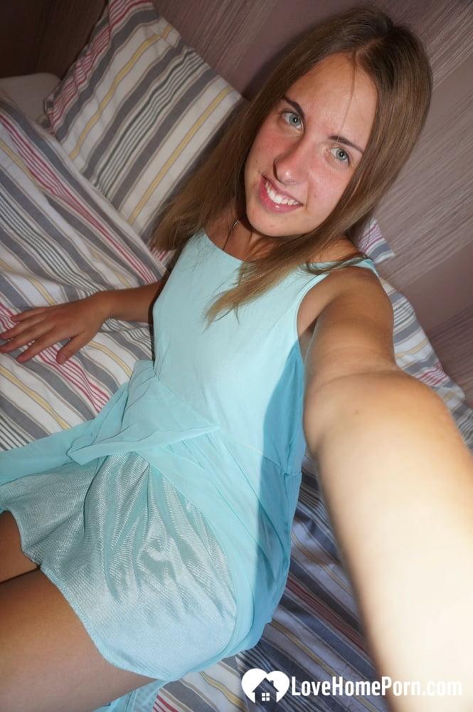 Amateur brunette teasing with her blazing figure
