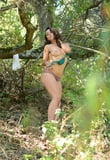 hairy Nikki Silver stripping outdoors