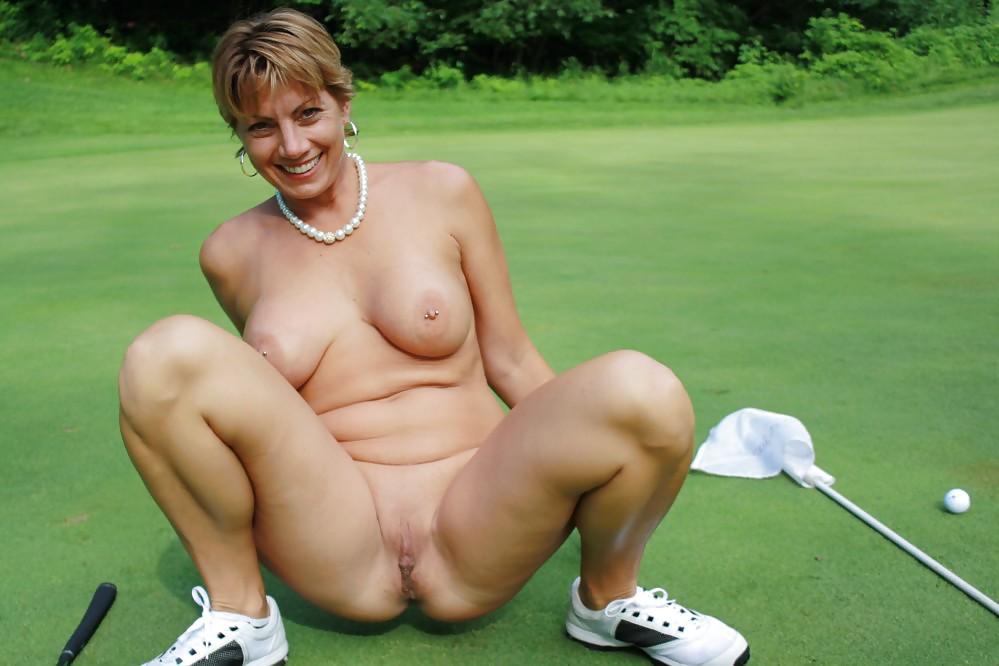 Playing golf nude