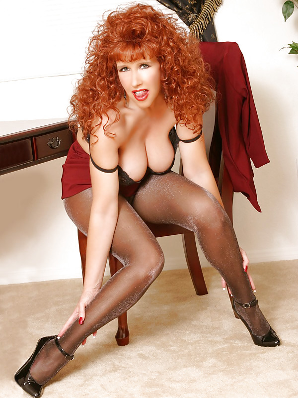 Kara Carter Busty Redhead In Pantyhose And Glasses