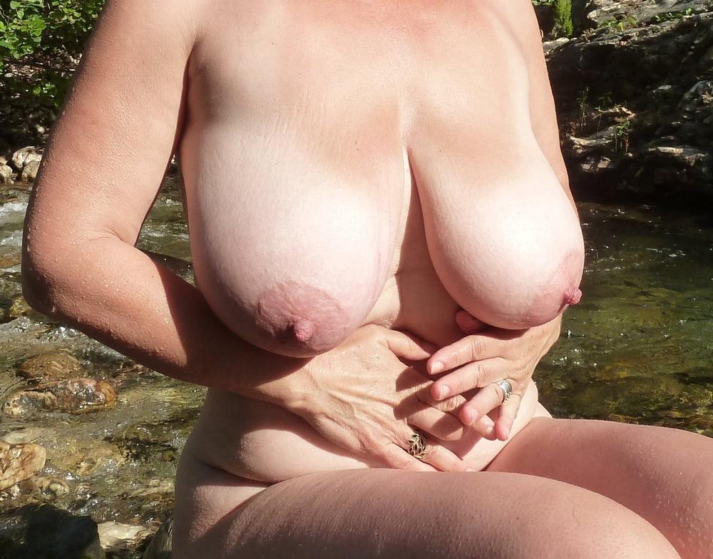 Hairy mature big saggy tits