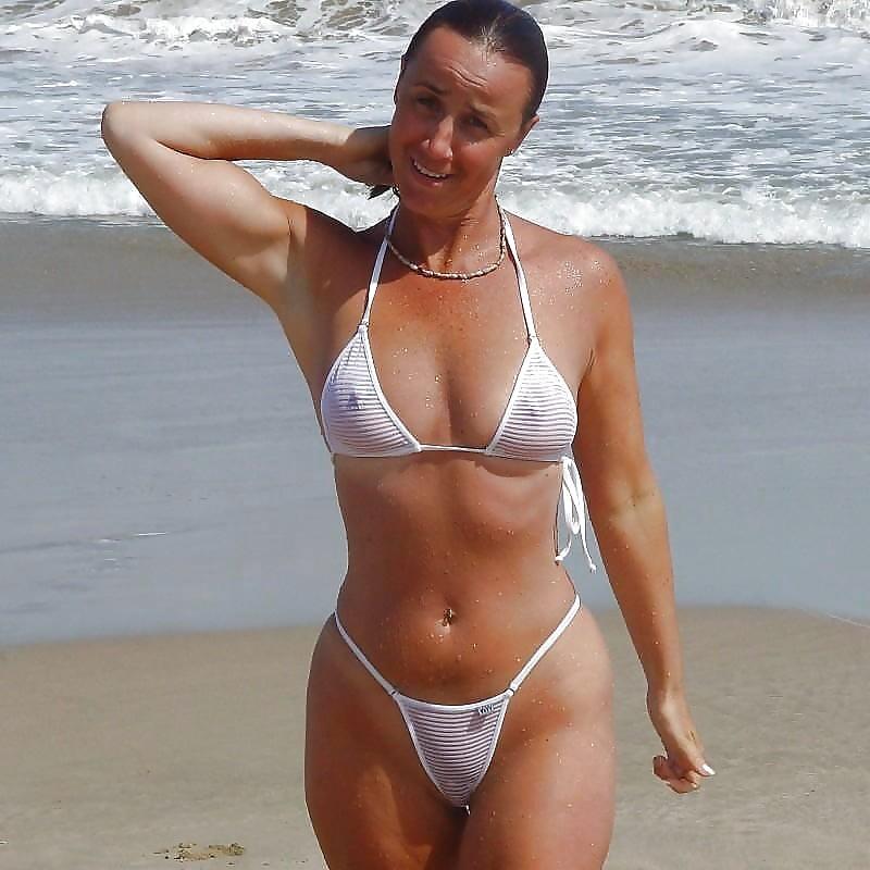 Mature bikini beach