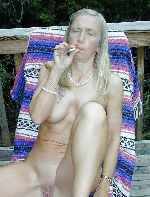Nude babes smoking