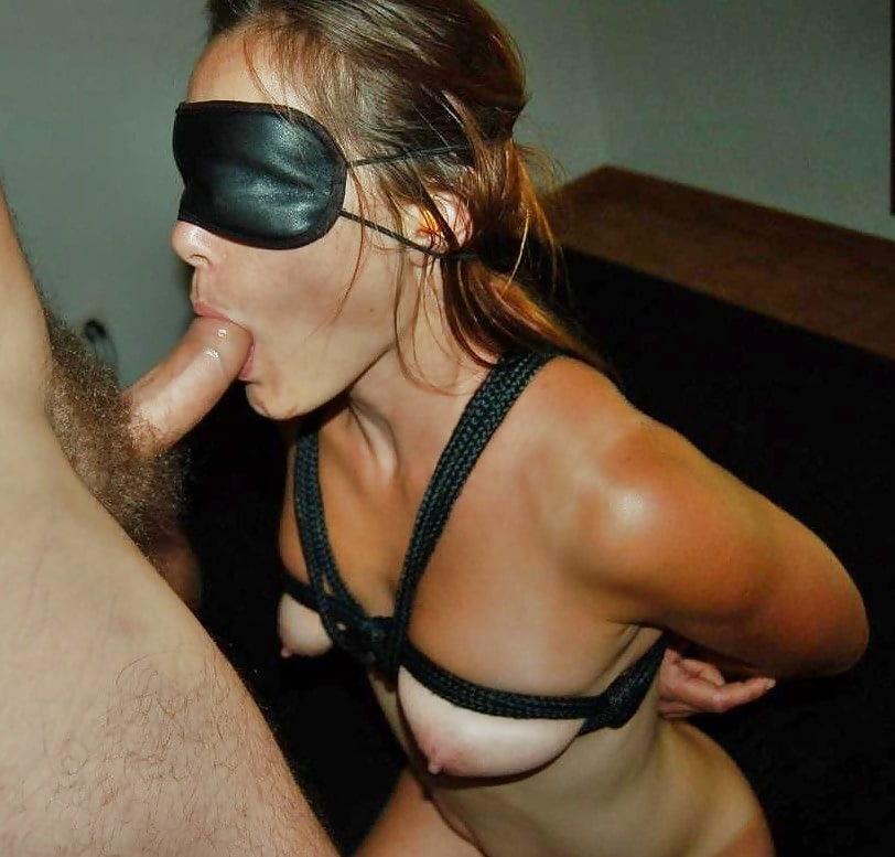 Blindfold blowjob handcuffs stockings