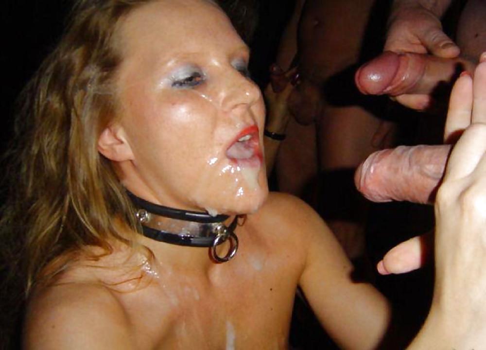 Bukkake slut covered with cum by european group sex photo