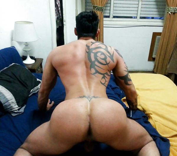 Bent over showing ass and dick
