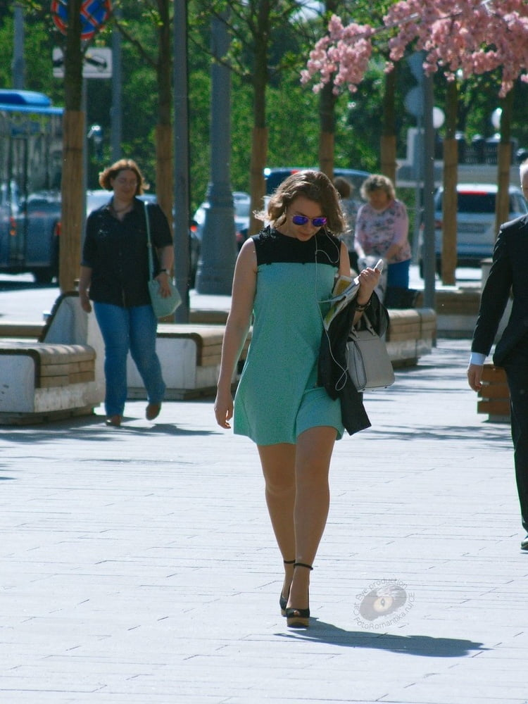 high heels and tan pantyhose in the streets - 61 Pics