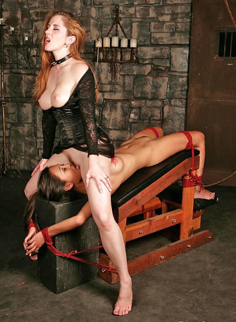 Kathia Nobili Sexy Lezdom Strapon Fucks Two Red Slavegirls