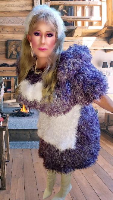 Fluffy dress and big boobs crossdresser - 29 Pics