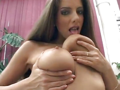 My girl licking her boobs