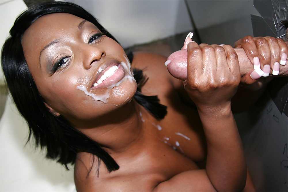 Ebony begs for white cum