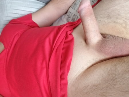 me in wifes red dress and grey brs