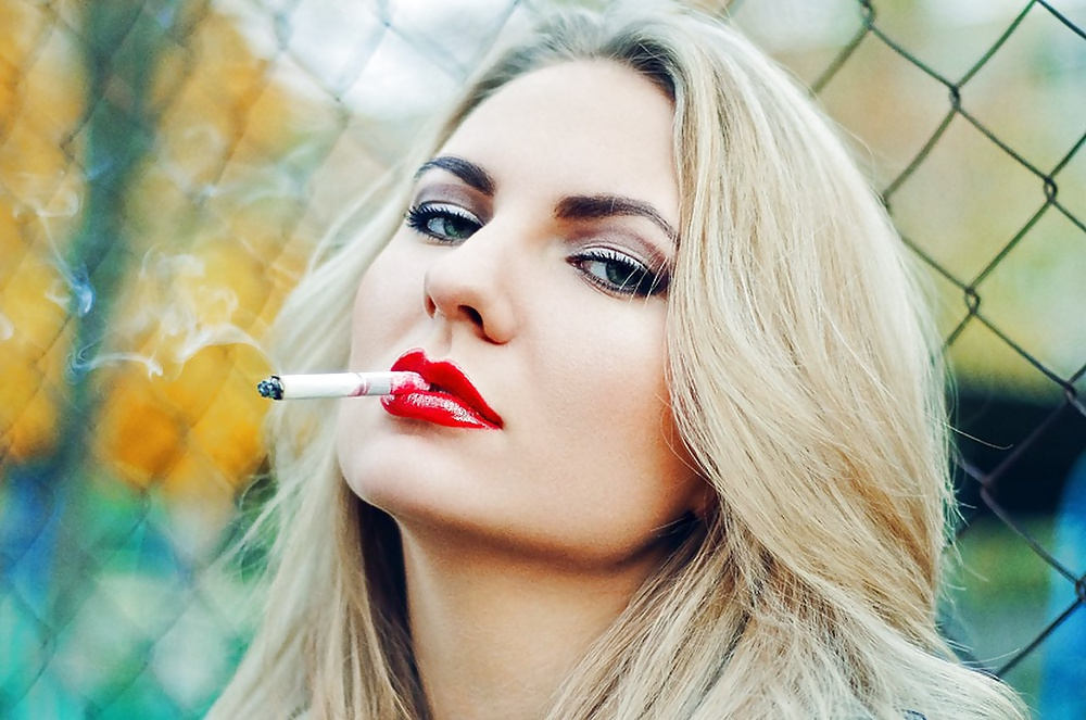Sexy Woman Smoking Cigarette In Room Containing Smoking, Woman, And Cigarette