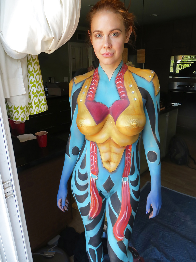 Nude body paint redhead full fiqured
